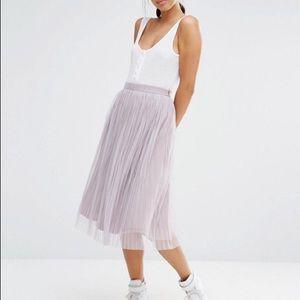 ASOS Boohoo lavender pleated tulle skirt